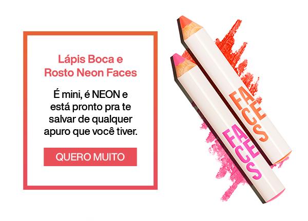 Lápis Boca e Rosto Neon Faces. Quero Muito