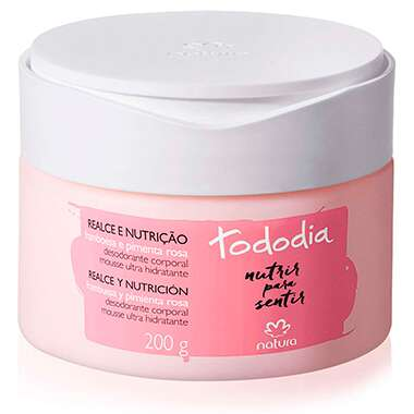 Desodorante Hidratante Mousse Brilho Natural Framboesa e Pimenta Rosa Tododia – 200g